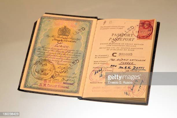 The passport of Audrey Hepburn on display at the 'Audrey In Rome' Opening Exhibition at Ara Pacis on October 25 2011 in Rome Italy