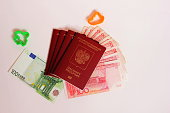 The passport of the Russian Federation. Biometric russian passports and euro and yuan for the trip. Plastic figures of the ship and the plane.