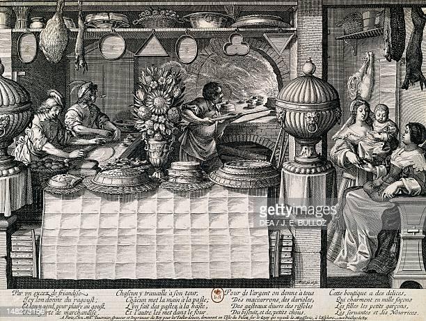 The pastry shop by Abraham Bosse engraving Paris Bibliothèque Nationale De France
