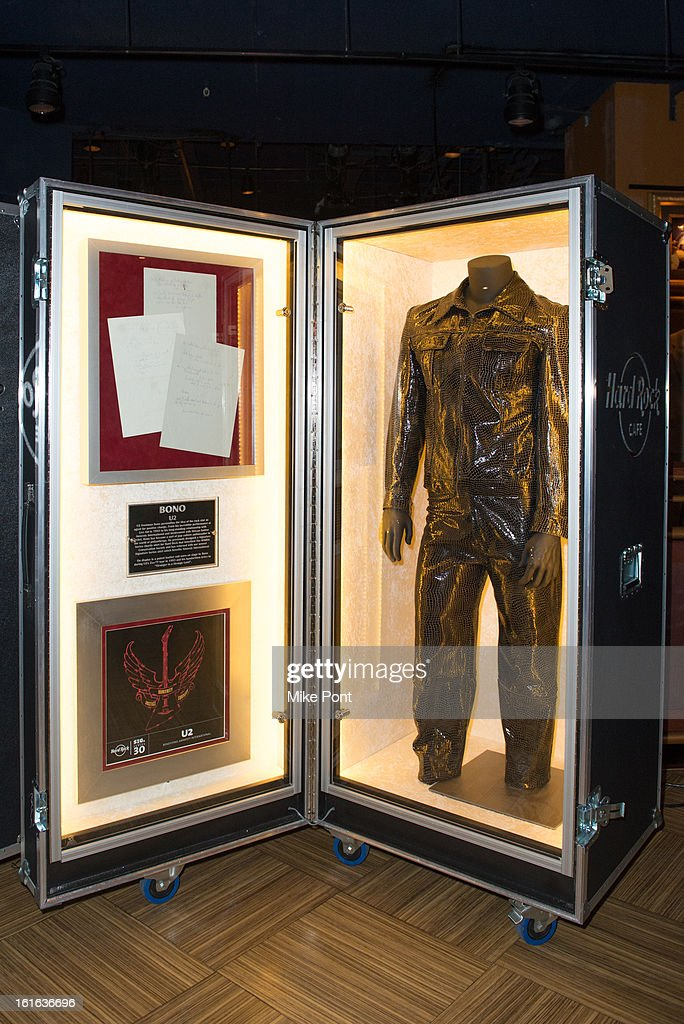 The patent leather suit Bono wore on U2's 1993 Zoo TV tour on display at Hard Rock's 'Gone Too Soon' and 'Music Gives Back' Media Preview Day at Hard Rock Cafe New York on February 13, 2013 in New York City.