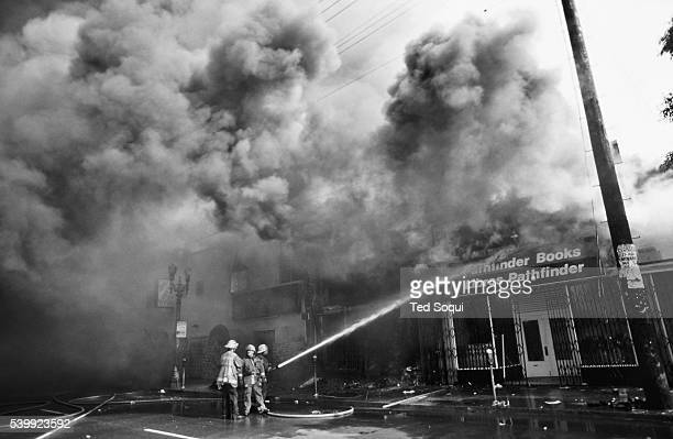 The Pathfinder bookstore on the 2500 block of Pico Blvd burns down in the Pico/Union area of Los Angeles Los Angeles has undergone several days of...