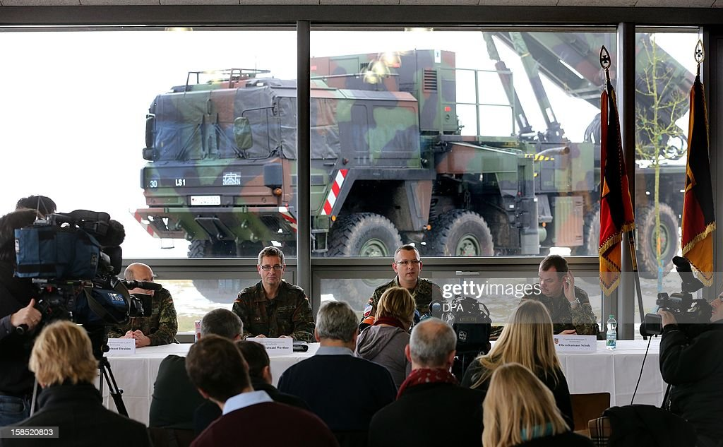 The 'Patriot' surface-to-air missile system is presented during a media day by the German Armed Forces in Warbelow, northern Germany, on December 18, 2012. According to a decision by the German Bundestag, the German Armed Forces' 'Patriot' system will be used in Turkey to protect the NATO allies from Syrian attacks. AFP PHOTO / BERND WUSTNECK /GERMANY OUT