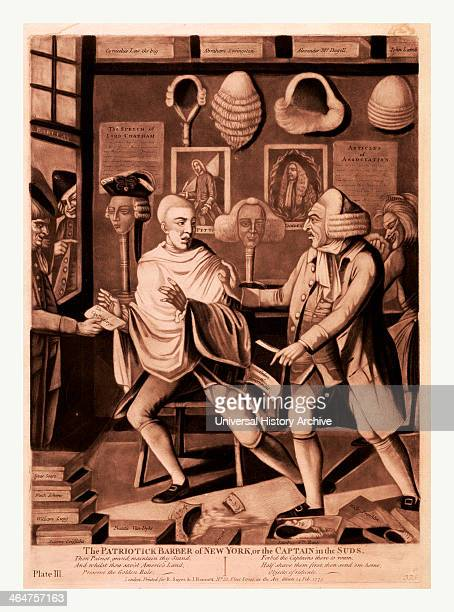 The Patriotick Barber Of New York Or The Captain In The Suds En Sanguine Engraving A New York Barber Refusing To Finish Shaving A Customer After...