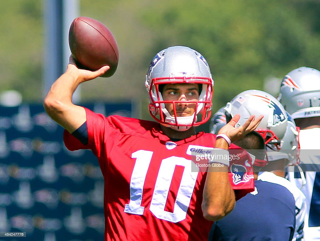 The Patriots held practice at the practice field next to Gillette Stadium. Jimmy Garoppolo fires a pass.