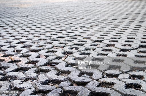 The pattern of stone block paving : Stock Photo