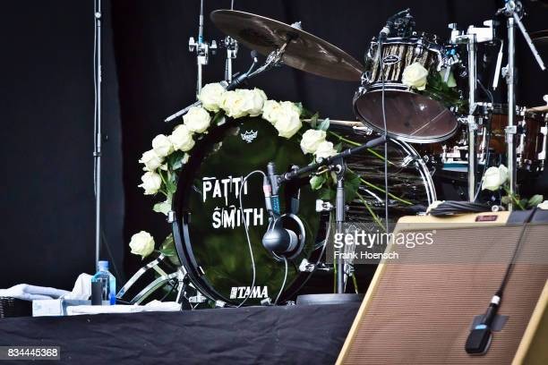 The Patti Smith' bass drum head is seen on stage during a concert at the Zitadelle Spandau on August 15 2017 in Berlin Germany