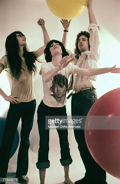 The Patti Smith Group pose with balloons in November 1974 in Los Angeles California