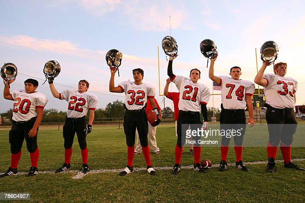 The Patton Springs Rangers six man football team prepares to take the field against the Guthrie Jaguars on October 11 2007 in Guthrie Texas Without...