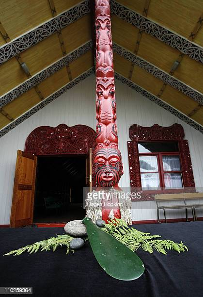 The Patu of Te Rauparaha on display during a signing ceremony to announce the ageement between Ngati Toa and the New Zealand Rugby Union at...