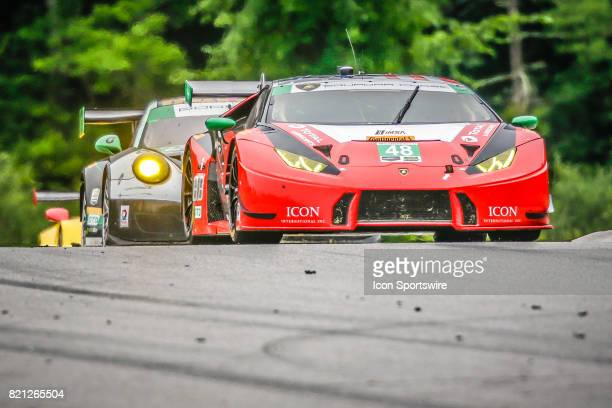 The Paul Miller Racing Lamborghini Huracan GT3 driven by Bryan Sellers and Madison Snow leads pack over Uphill section during the IMSA WeatherTech...