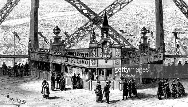 The pavilion of the Figaro on the second storey of the Eiffel Tower Paris 1889 The tower designed by Gustave Eiffel was built as the entrance arch to...