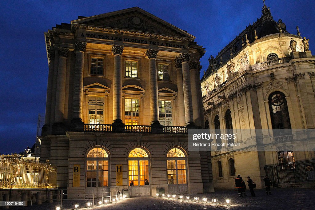 The Pavillon Gabriel (L) and the Royal Chapel (R) are seen prior to the gala dinner of Professor David Khayat's association 'AVEC', at Chateau de Versailles on February 4, 2013 in Versailles, France.
