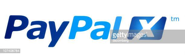 The PayPal company logo sits on display at Le Web 2010 conference in Paris France on Wednesday Dec 8 2010MasterCard and Londonbased Visa Europe...