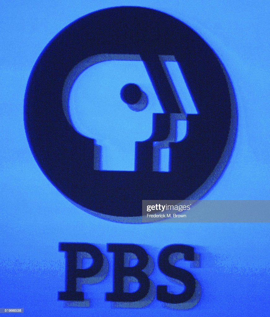 The PBS logo is displayed on a monitor during the PBS 2005 Television Critics Winter Press Tour at the Hilton Universal Hotel on January 15 2005 in...