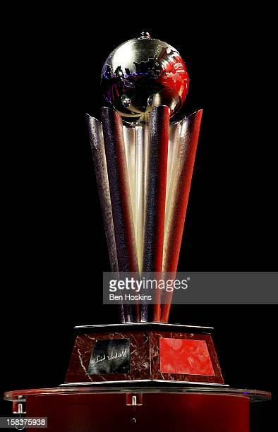 The PDC World Darts Championship trophy on show during day one of the Ladbrokescom World Darts Championship at Alexandra Palace on December 14 2012...