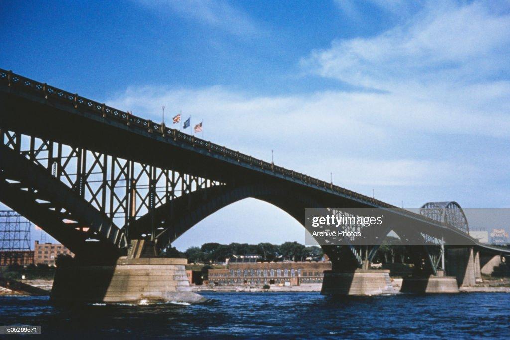 The Peace Bridge over the Niagara River linking Fort Erie in Canada and Buffalo in the USA circa 1965
