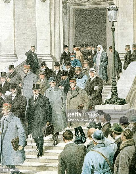 The peace conference delegates leaving the Quai D'Orsay in Paris 1919 By Achille Beltrame illustration from La Domenica del Corriere
