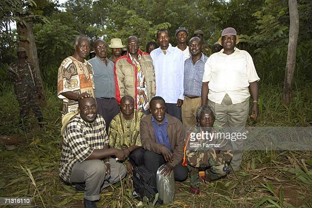 The peace delegation of the Ugandan rebel militia the Lord's Residstance Army pose for a group photo in this image taken on June 11 2006 in Nbanga in...