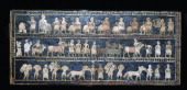 The 'Peace' side of the Standard of Ur from a Royal tomb at Ur southern Iraq about 26002400 BC Inlay of shell red limestone and lapis lazuli in...