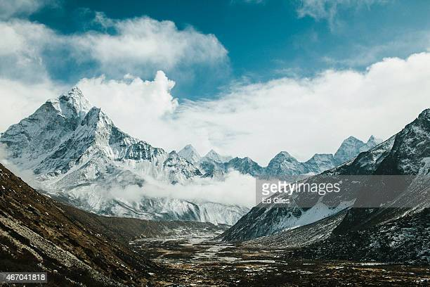 The peak of Ama Dablam is seen above the village of Pheriche and the Dudh Kosi river vallery in the SoluKhumbu region of Nepal February 13 2015 The...