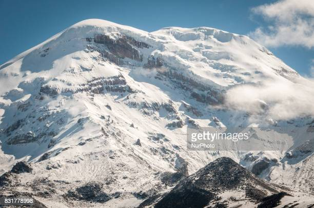 The peak of the Chimborazo Volcano the highest mountain in Ecuador and the furthest peak from the center of the earth due to equatorial bulge Photo...