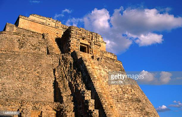 The peak of the Pyramid of the Magician (Piramide del Adivino) on the Mayan site at Uxmal.