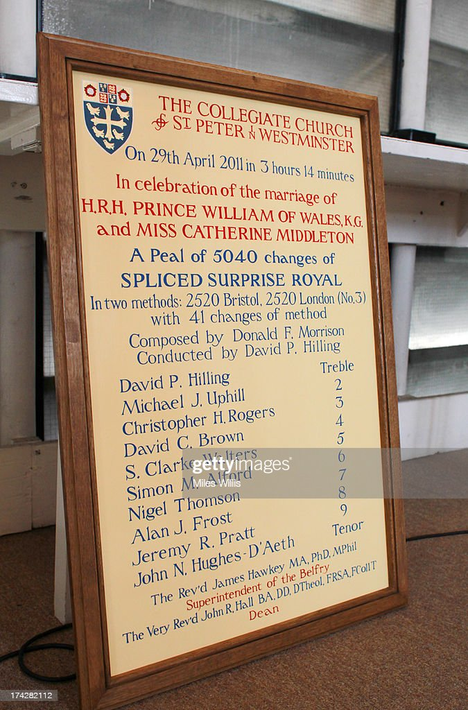 The Peal Board for the marriage of Prince William and Kate Middleton on display prior to bell ringers ringing a Peal Composition of Cambridge Surprise Royal at Westminster Abbey on July 23, 2013 in London, England. The Duchess of Cambridge yesterday gave birth to a boy at 16.24 BST and weighing 8lb 6oz, with Prince William at her side. The baby, as yet unnamed, is third in line to the throne and becomes the Prince of Cambridge.