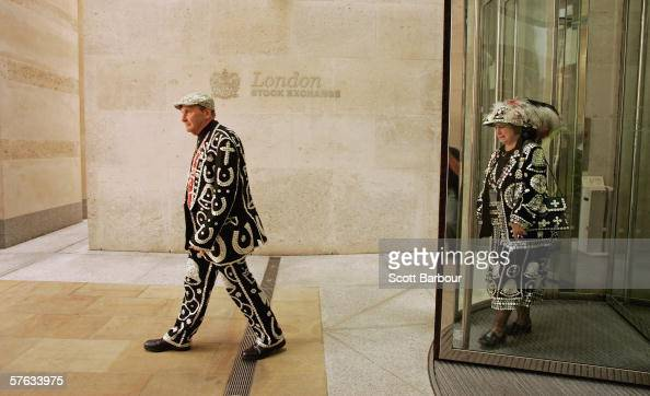The Pearly King and Queen of Crystal Palace Pat and Carole Jolly leave the London Stock Exchange building after the Museum of London launched the...