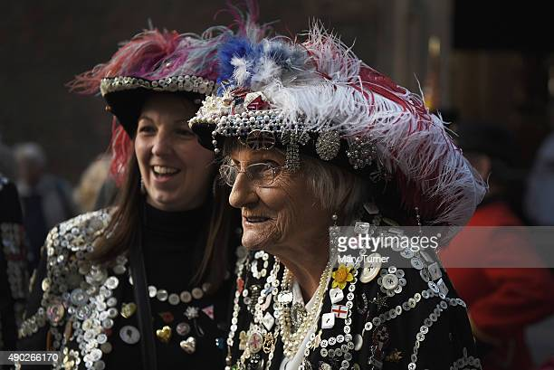 The Pearly Queen of Smithfield Market arrives at the Church of St MaryleBow Cheapside to attend the service for the 17th Pearly Kings and Queen's...