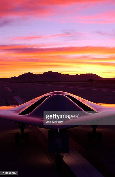 The Pegasus which is a Navy UAV or unmanned aerial vehicle rests at sunrise on China Lake Naval Air Station January 29 2003 in China Lake California...