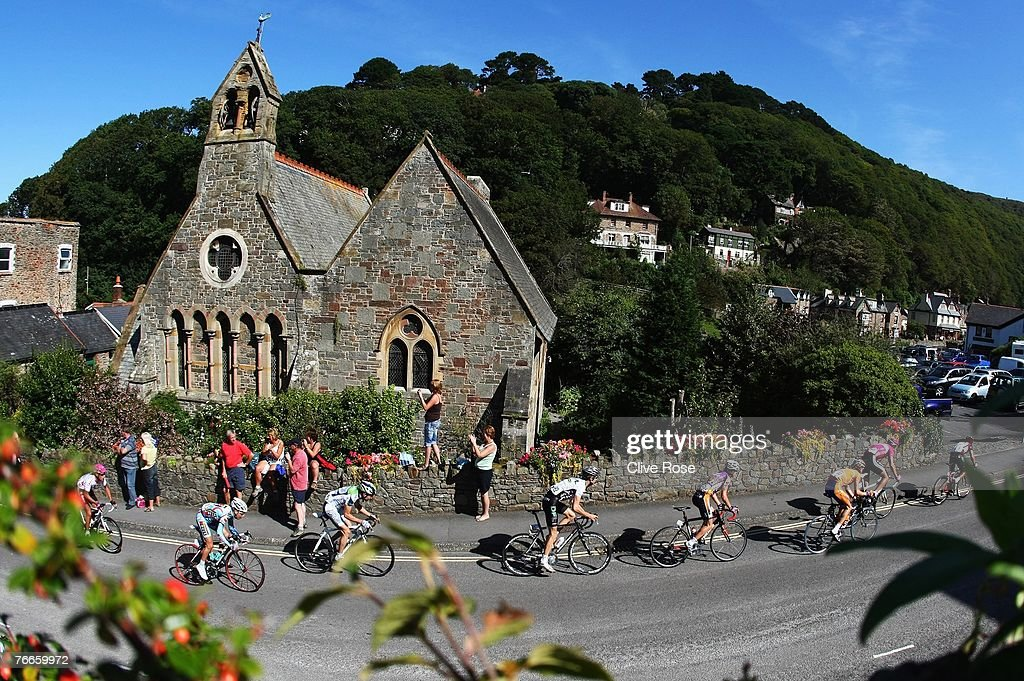 The pelaton passes through the seaside town of Lynmouth during Stage Two of the Tour of Britain on September 11 2007 in Lynmouth England
