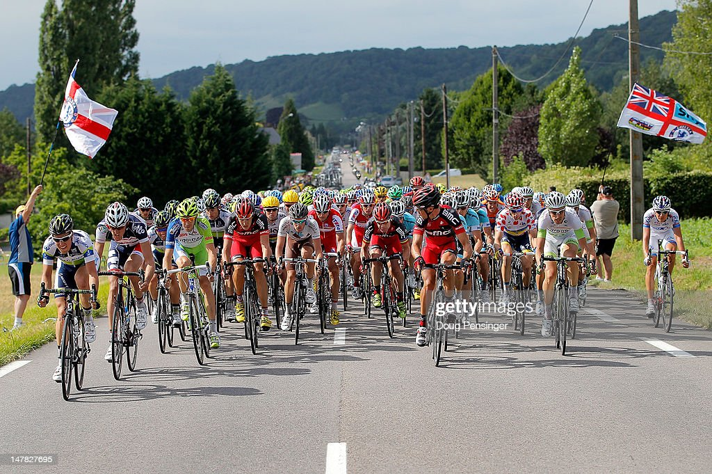The peloton chases down the breakaway in the final kilometers of stage four of the 2012 Tour de France from Abbeville to Rouen on July 4, 2012 in Rouen, France.