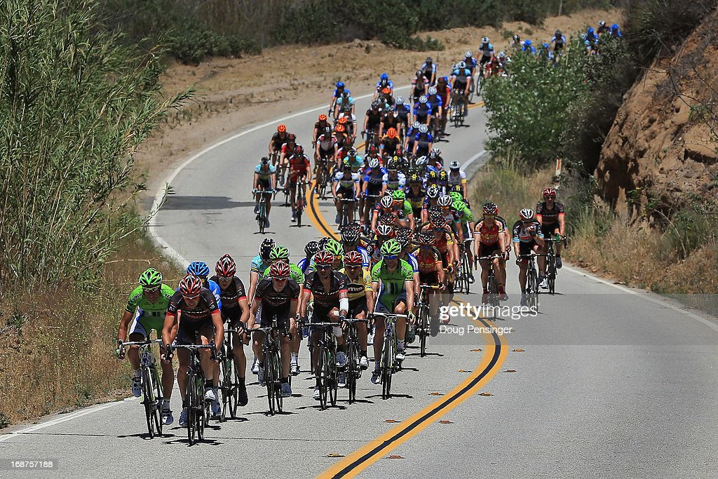 The peloton chases the breakaway during Stage Three of the 2013 Amgen Tour of California from Palmdale to Santa Clarita on May 14, 2013 in Santa Clarita, California.