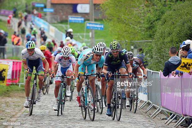 The peloton climb the Paterberg during the 98th Tour of Flanders from Bruges to Oudenaarde on April 6 2014 in Oudenaarde Belgium
