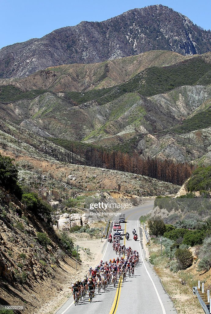 The peloton climbs along the Angeles Crest Highway through the Los Angeles National Forest during Stage Six of the 2010 Tour of California from Palmdale to Big Bear on May 21, 2010 in Los Angeles County, California.