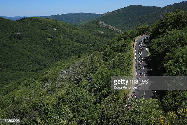 The peloton climbs the Col de la Croix de Mounis during stage seven of the 2013 Tour de France a 2055KM road stage from Montpellier to Albi on July 5...