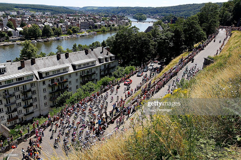 The peloton climbs the Cote de la Citadelle de Namur during stage two of the 2012 Tour de France from Vise to Tournai on July 2, 2012 in Namur, Belgium.