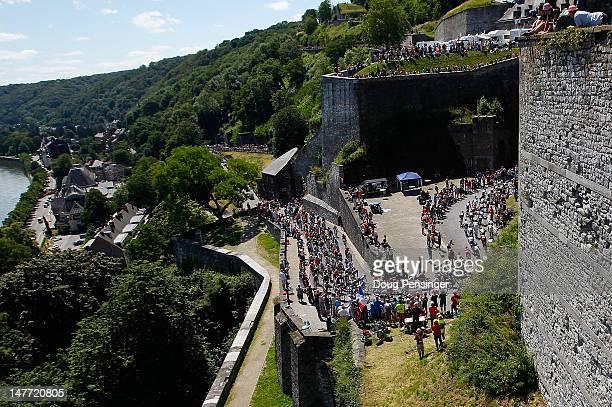 The peloton climbs the Cote de la Citadelle de Namur during stage two of the 2012 Tour de France from Vise to Tournai on July 2 2012 in Namur Belgium