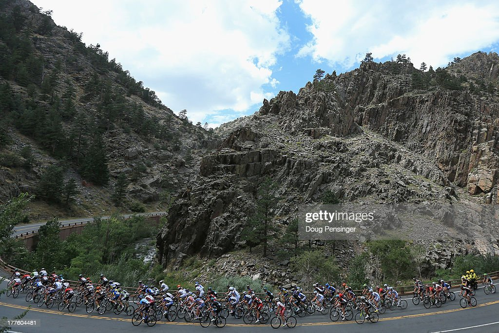 The peloton climbs through Big Thompson Canyon during stage six of the 2013 USA Pro Challenge from Loveland to Fort Collins on August 24, 2013 in Loveland, Colorado.