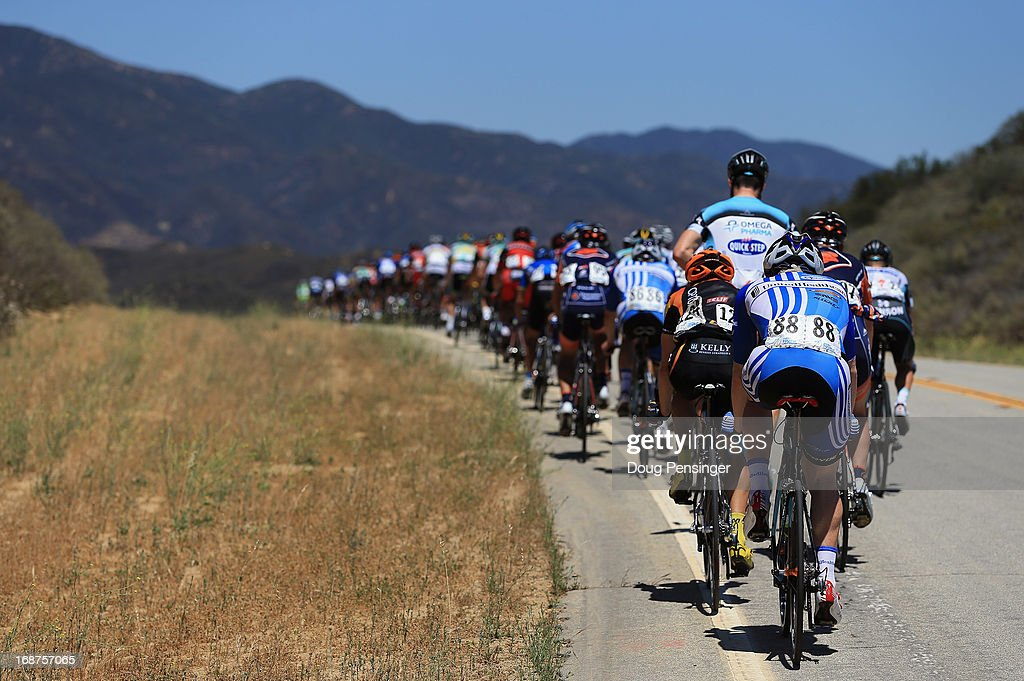 The peloton climbs through the hills during Stage Three of the 2013 Amgen Tour of California from Palmdale to Santa Clarita on May 14, 2013 in Santa Clarita, California.