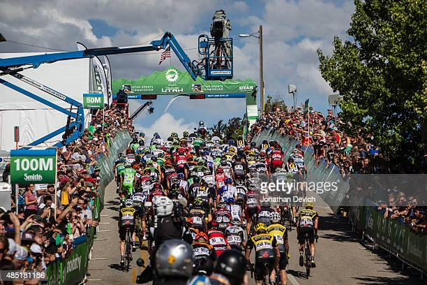 The peloton crests the climb over the finish straight during stage 5 of the Tour of Utah on August 7 2015 in Salt Lake City Utah
