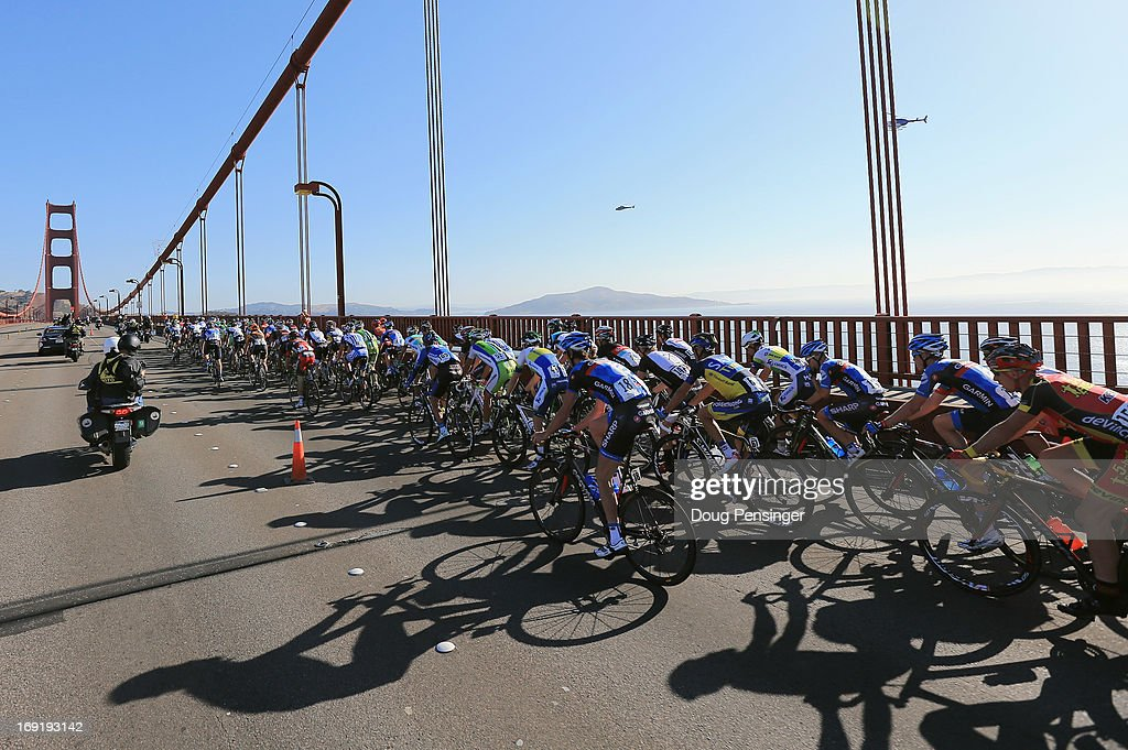 The peloton crosses the Golden Gate Bridge to begin Stage Eight of the 2013 Amgen Tour of California from San Francisco to Santa Rosa on May 19, 2013 in San Francisco, California.