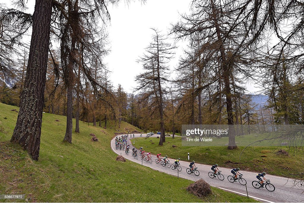 The peloton crossing the forest during the climb on Col des Planches 1411m during stage 4 of the Tour de Romandie on April 30, 2016 in Villars-sur-Ollon, Switzerland.