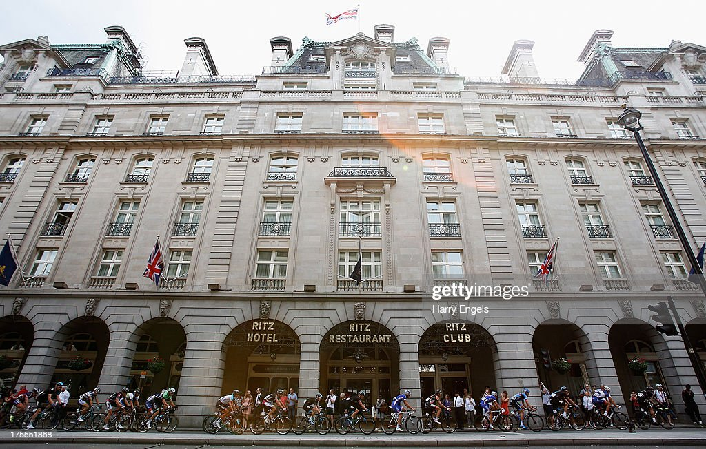 The peloton cycles past the Ritz Hotel during the Prudential RideLondon-Surrey Classic on August 4, 2013 in London, England.