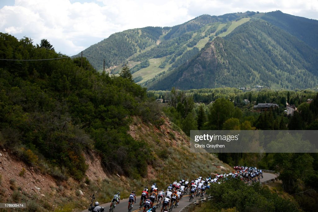 The peloton decends during stage one of the USA Pro Cycling Challenge on August 19, 2013 in Aspen, Colorado.