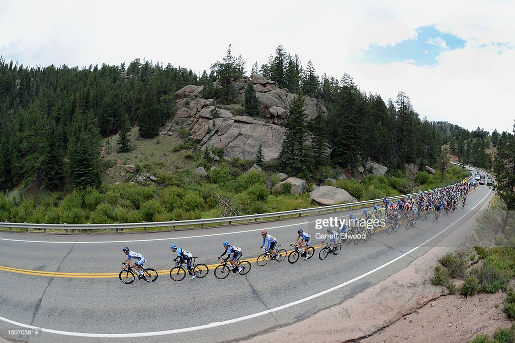 The peloton drives towards Colorado Springs during Stage Five of the USA Pro Challenge from Breckenridge to Colorado Springs on August 24, 2012 in Teller County, Colorado.