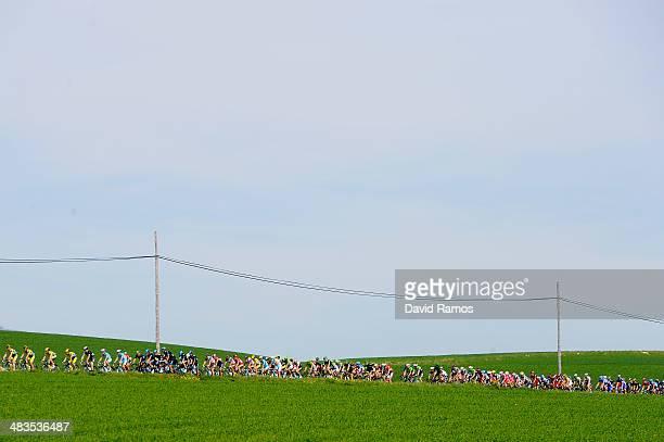 The peloton during Stage Three of Vuelta Al Pais Vasco from Urdax to VitoriaGasteiz on April 9 2014 in VitoriaGasteiz Spain
