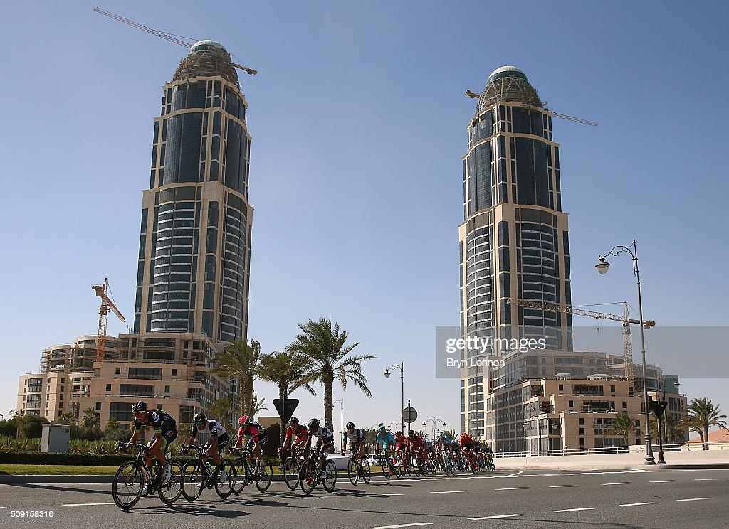 The peloton enters 'The Pearl' during stage two of the 2016 Tour of Qatar from Qatar University to Qatar Univeristy on February 9, 2016 in Doha, Qatar. The stage also serves as a test event for the World Road Race Championships which will be held in Doha in October.
