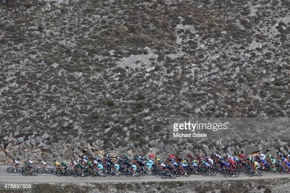 The peloton head up Col de Vence during stage 7 of the ParisNice race from Mougins to Biot Sophia Antipolis on March 15 2014 in Mougins France