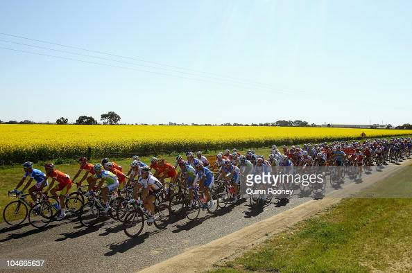 The peloton heads down to Geelong during the Elite Men's Road Race on day five of the UCI Road World Championships on October 3 2010 in Geelong...